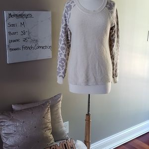 French Connection cream /leopard print sweater